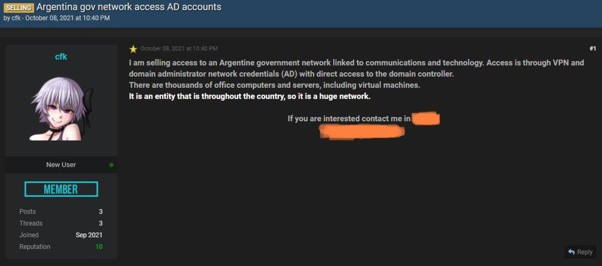 La filtración de datos en un sitio de compra y venta de cibercriminales. Foto Captura de pantalla